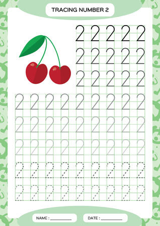 Number 2. Two Tracing Worksheet. Cherry berry. Preschool worksheet, practicing motor skills - tracing dashed lines. A4 blue. Vector