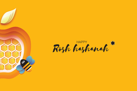Jewish New Year, Rosh Hashanah Greeting card. Apple shape with honey gold cell and honey bee in paper cut style. Origami happy holiday in Hebrew. Yellow background.