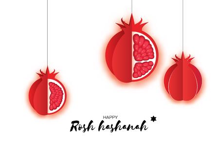 Jewish New Year, Rosh Hashanah. Pomegranate Paper cut style. Holiday. Vektorové ilustrace