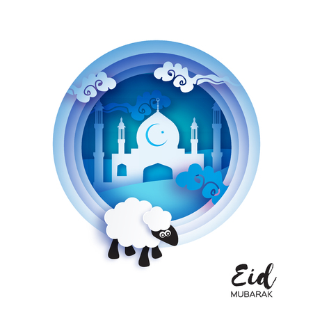 Eid-Al-Adha Greeting card design with paper cut cute Baby Sheep for Muslim Community. Origami Festival of Sacrifice. Eid Mubarak. White mosque. white ram.