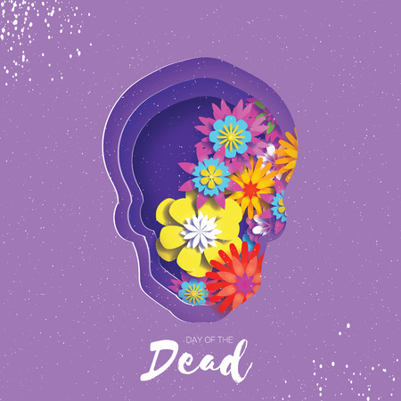 Day of the dead. Paper cut skull frame for text. Mexican celebration. Dia de muertos on purple. Origami cempasuchil flowers.