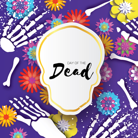 Day of the dead. Paper cut skull frame for mexican celebration. Traditional mexico skeleton. Blue Diamond eyes. Dia de muertos on purple. Origami cempasuchil flowers. Bones. Vector