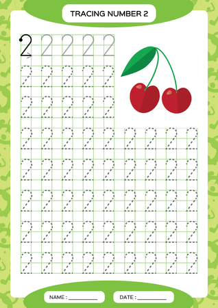 Number 2. Two Tracing Worksheet. Cherry berry. Preschool worksheet, practicing motor skills - tracing dashed lines. A4 green. Vector
