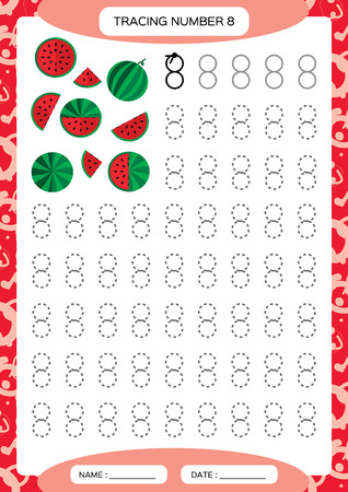 Number 8. Eight . Tracing Worksheet for kids. . Watermelon. Preschool worksheet, practicing motor skills - tracing dashed lines. A4 red Vector