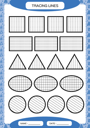 Tracing Lines. Kids education. Preschool worksheet. Basic writing. Kids doing worksheets. Fine motor skills. Blue background. Square, circle triangleVector