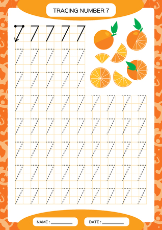Number 7. Seven . Tracing Worksheet for kids. . Juicy orange. Preschool worksheet, practicing motor skills - tracing dashed lines. A4 orange. Grid Vector