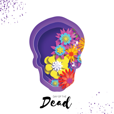 Day of the dead. Paper cut skull frame for text. Mexican celebration. Dia de muertos on white. Origami cempasuchil flowers. Vector Vectores