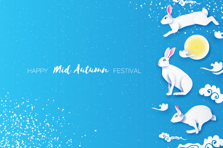 Happy Chinese Mid Autumn Festival in paper cut style. White Moon rabbit. Moon gate. Chuseok. Chinese holiday. Blue. Vector
