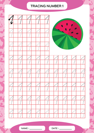 Number 1. One Tracing Worksheet. Watermelon. Preschool worksheet, practicing motor skills - tracing dashed lines. A4 purple. Vector