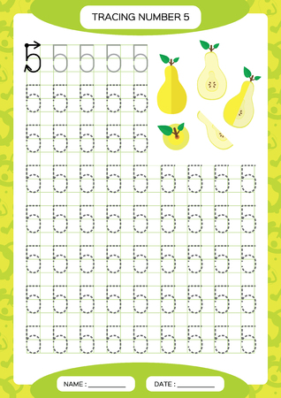 Number 5. Five Tracing Worksheet for kids. . Yellow juicy pear. Preschool worksheet, practicing motor skills - tracing dashed lines. A4 green grid. Vector