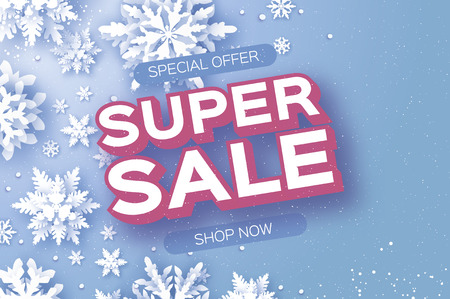 Winter Super Sale Banner. Merry Christmas and Happy New Year card. White Paper cut snowflakes. Origami Wintertime Decoration background. Seasonal holidays. Snowfall. Space for text. Blue. Vector Иллюстрация