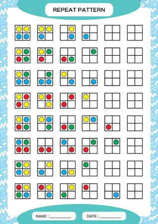 Répétez le motif. Grille carrée avec des cercles colorés. Spécial pour les enfants d'âge préscolaire. Feuille de travail pour pratiquer la motricité fine. Amélioration des tâches de compétences. A4 vert. Jeu Snap. 2x2.