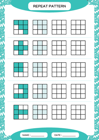Repeat blue pattern. Cube grid with squares. Special for preschool kids. Worksheet for practicing fine motor skills. Improving skills tasks. A4. Snap game. 3x3.
