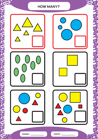 How Many Counting Game for Preschool Children. Educational math game. Count the shapes s in the picture and write the result. Vectores