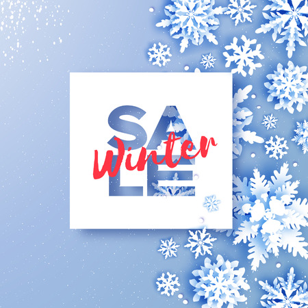 Winter Sale Banner. Merry Christmas and Happy New Year Greetings card. White Paper cut snowflakes. Origami Winter Decoration background. Seasonal holidays. Snowfall. Space for text. Blue. Vector