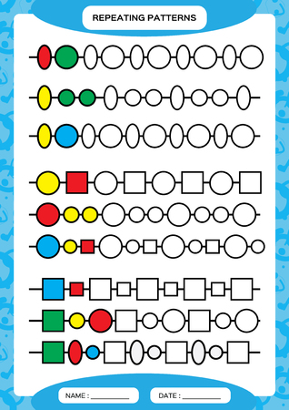 Complete repeating patterns. Worksheet for preschool kids. Practicing motor skills, improving skills tasks. Complete the pattern. Color beads. Blue background. Square, circle, oval, triangle