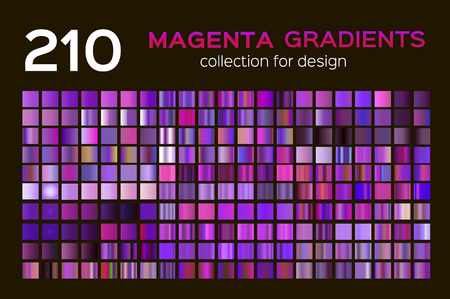 Mega set of 210 Magenta metal gradients. Magenta backgrounds collection, metal gradients, swatches. Different gradation design. for design concepts, wallpapers, web, prints, posters, interfaces.