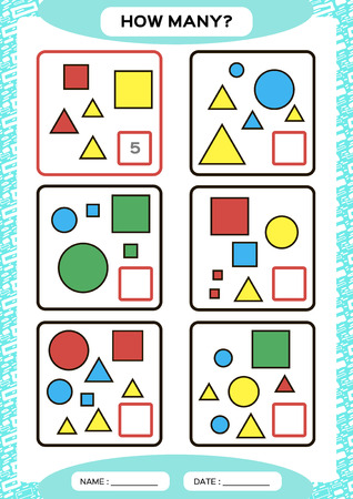 How Many. Counting Game for Preschool Children. Educational math game. Count the shapes in the picture and write the result. blue. Ilustrace