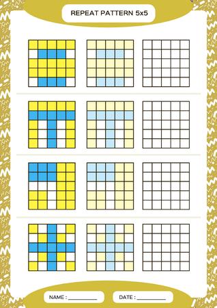 Repita el patrón azul amarillo. Cuadrícula de cubo con cuadrados. Especial para niños en edad preescolar. Hoja de trabajo para practicar la motricidad fina. Mejora de las tareas de habilidades. A4. Snap juego. 5x5 Ilustración de vector