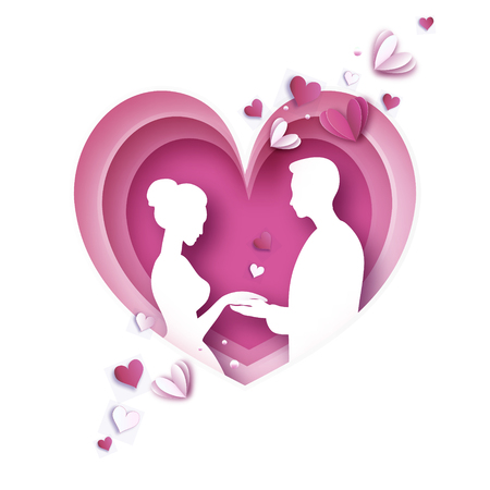 Love paper cut style. Origami couple. Valentines day, pink heart. Lovely girl and boy. Heart layered frame. Pink.Vector Illustration