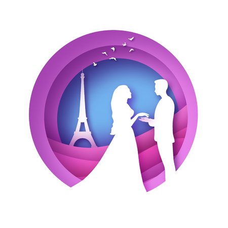 White silhouette of romantic lovers with Eiffel tower in Paris paper cut style. Love. Origami couple. Valentines day. Lovely girl and boy. Marry me. Pink. Vector.