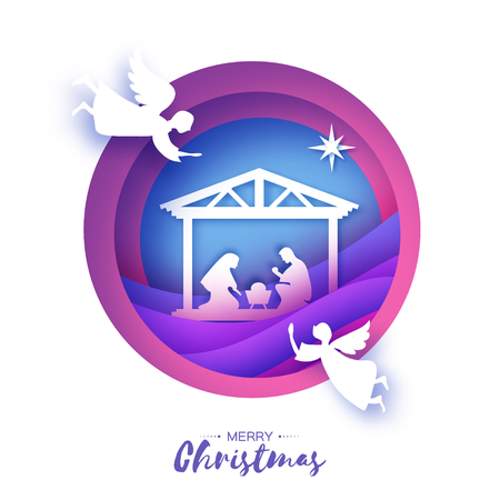 Birth of Christ. Baby Jesus in the manger. Holy Family. Magi. Angels. Star of Bethlehem - east comet. Nativity Christmas design in paper art style. Happy new year. Circle tunnel frame. Purple. Vector.