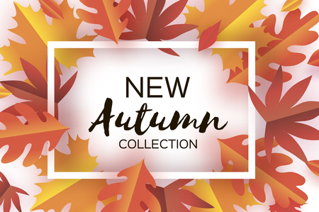 Autumn Paper Cut Leaves. New Autumn collection. September flyer template. Rectangle layered cave tunnel frame. Space for text. Origami Foliage. Maple, oak. Fall poster. white. Vector