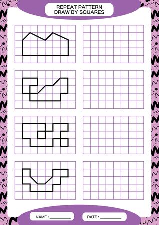Repita el patrón. Actividad de rastreo de líneas, especial para niños en edad preescolar. Hoja de trabajo para practicar la motricidad fina. Formas simples. Completa el patrón. Simetría. Vector A4 púrpura