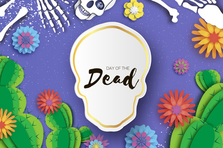 Day of the dead. Paper cut skull for mexican celebration. Traditional mexico skeleton. Dia de muertos. Mexican holiday. Purple. Origami flower,cactus. Skull frame for text. Vector
