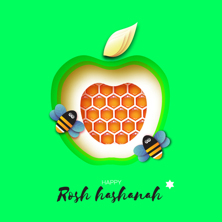 Jewish New Year, Rosh Hashanah Greeting card. Green Apple shape with honey gold cell and honey bee in paper cut style. Origami happy holiday in Hebrew. Green background. Vector  イラスト・ベクター素材