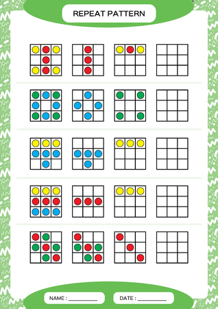 Repeat pattern. Square with colorfull circles. Special for preschool kids. Worksheet for practicing fine motor skills. Improving skills tasks. Green A4. Snap game. Vector Vecteurs