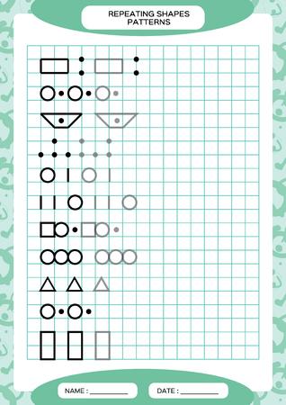 Répétez le motif. Activité de traçage des lignes, spéciale pour les enfants d'âge préscolaire. Feuille de travail pour pratiquer la motricité fine. Formes simples. Terminez le modèle. Vecteur A4 bleu