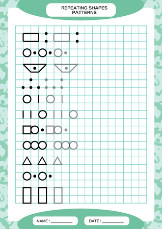 Repeat Pattern. Tracing Lines Activity, Special for preschool kids. Worksheet for practicing fine motor skills. Simple shapes. Complete the pattern. Blue A4 Vector