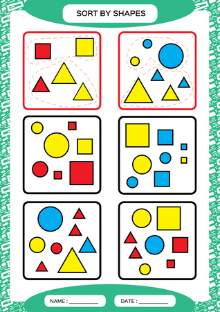 Sort by Shapes. Sorting Game. Group by shapes - square, circle,triangle. . Special sorter for preschool kids. Worksheet for practicing fine motor skills. Improving skills tasks. A4. green Vector