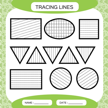Tracing Lines. Kids education. Preschool worksheet. Basic writing. Kids doing worksheets. Fine motor skills. Green background. Square, circle triangle Vector