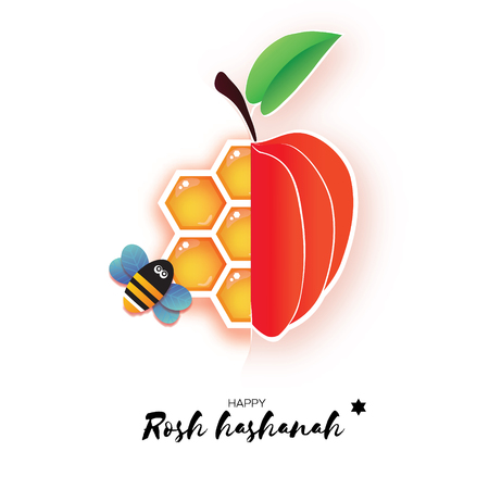 Red ripe apple and gold honeycomb. Jewish New Year, Rosh Hashanah Greeting card. Origami Honey Bee in paper cut style. Happy holiday in Hebrew. White background. Vector  イラスト・ベクター素材