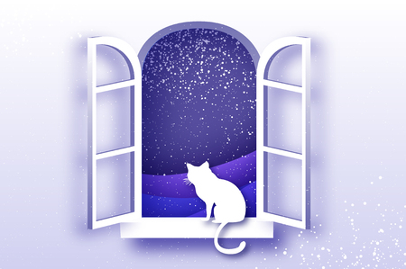 Cat looking through Origami window framer Merry Christmas holidays and xmas snowy nature. Happy New Year. Blue. Snowfall. Vector