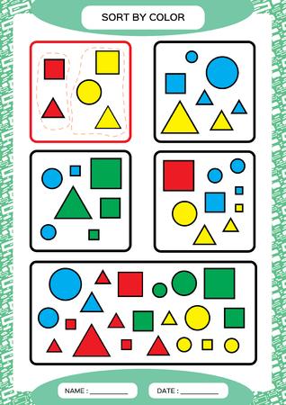 Nach Farbe sortieren. Spiel sortieren. Gruppieren Sie nach Farbe - grün, rot, gelb. Blau. Spezieller Sortierer für Kinder im Vorschulalter. Arbeitsblatt zum Üben der Feinmotorik. Aufgaben verbessern. A4. blauer Vektor