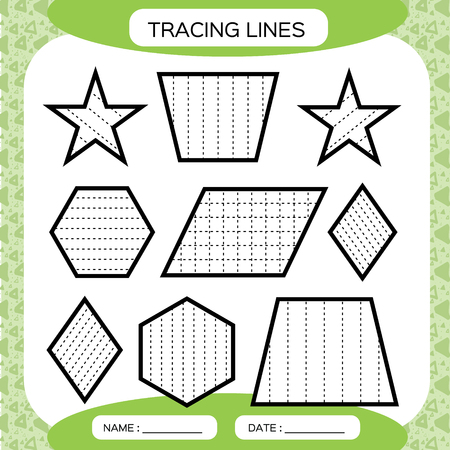Tracing Lines. Kids education. Preschool worksheet. Basic writing. Kids doing worksheets. Fine motor skills. green background. Star, hexagonrhombus Vector