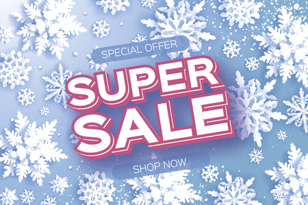 Winter Super Sale Banner. Merry Christmas and Happy New Year card. White Paper cut snowflakes. Origami Wintertime Decoration background. Seasonal holidays. Snowfall. Space for text. Blue. Vector Illustration