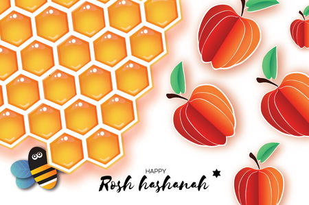 Jewish New Year, Rosh Hashanah Greeting card. Origami Apple with Honey gold cell and Honey Bee in paper cut style. Happy holiday in Hebrew. White background. Vector  イラスト・ベクター素材