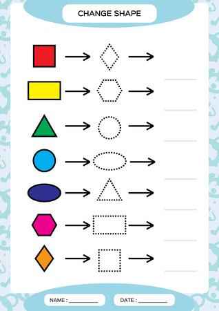 Cambiar el color. Formas de colores ... Aprendizaje de formas básicas. Colorea, calca y dibuja. Hoja de trabajo para niños en edad preescolar. Practicando las habilidades motoras. Triángulo ovalado círculo cuadrado en vector azul Ilustración de vector