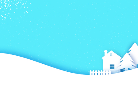 Merry Christmas and Happy New Year Greetings card. Origami Winter Snow Landscape Village with blue sky. City Urban Countryside with forest in paper cut style. Holidays. Vector. Illustration