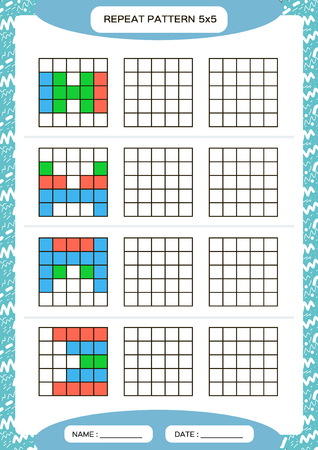 Repita el patrón de colores. Cuadrícula de cubo con cuadrados. Especial para niños en edad preescolar. Hoja de trabajo para practicar la motricidad fina. Mejora de las tareas de habilidades. A4. Snap juego. 5x5. Vector