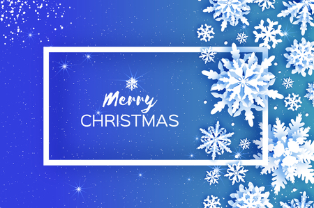 Merry Christmas and Happy New Year Greetings card. White Paper cut snowflakes. Origami Winter Decoration background. Seasonal holidays. Snowfall. Rectangle frame. Space for text. Blue. Vector