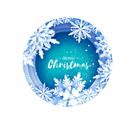 Merry Christmas and Happy New Year Greetings card. White Paper cut snowflakes. Origami Winter Decoration background. Seasonal holidays. Snowfall. Layered tunnel circle frame. Space for text. Blue. Vector