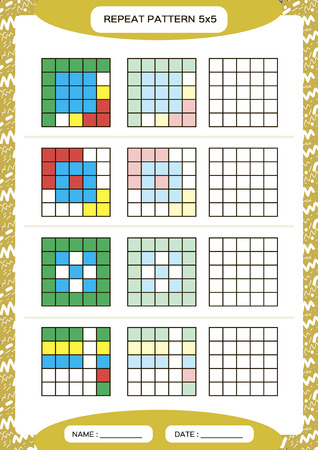 Repeat colorful pattern. Cube grid with squares. Special for preschool kids. Worksheet for practicing fine motor skills. Improving skills tasks. A4. Snap game. 5x5. Vector Vektorové ilustrace