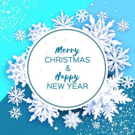Merry Christmas and Happy New Year Greetings card. White Paper cut snowflakes. Origami Winter Decoration background. Seasonal holidays. Snowfall. Circle frame. Space for text. Blue. Vector