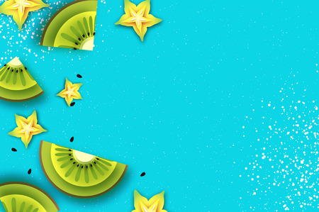 Slice of kiwi and carambola. Top view. Kiwi and Starfruit Super Summer in paper cut style. Origami juicy ripe green yellow slices. Healthy food on blue. Summertime. Vector
