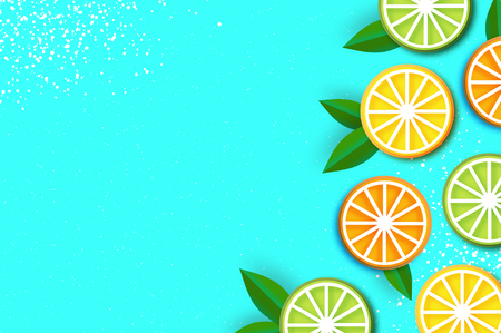 Lemon, lime, orange in paper cut style. Origami juicy ripe slices. Leaves. Healthy food on blue. Summertime. Vector Çizim